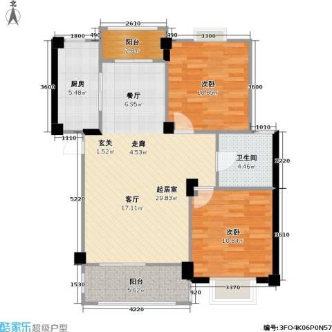 国信馨园香樟水岸2室0厅1卫1厨77.16㎡户型图