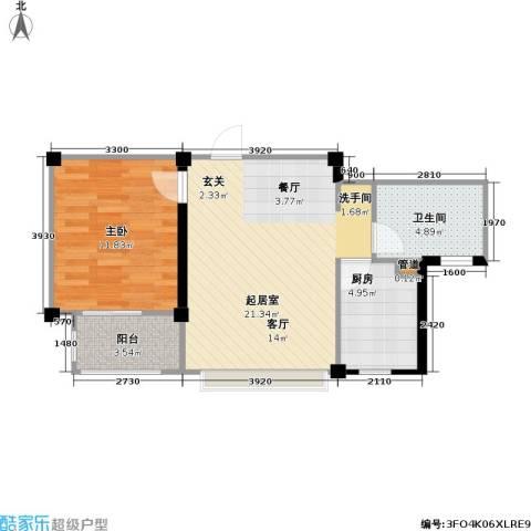 国信馨园香樟水岸1室0厅1卫1厨51.46㎡户型图