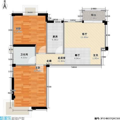 国信馨园香樟水岸2室0厅1卫1厨66.77㎡户型图