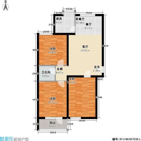 神奇庭院3室1厅1卫1厨107.00㎡户型图