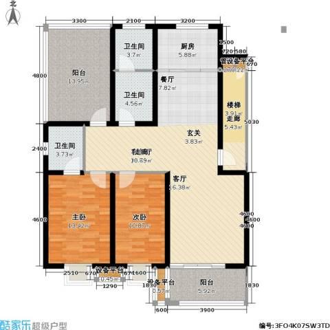 神奇庭院2室1厅3卫1厨155.00㎡户型图