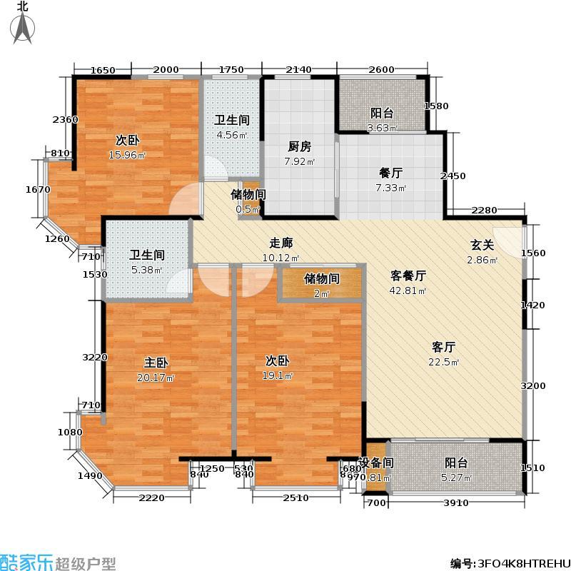 经纬城市绿洲三房二厅二卫,面积约138平方米户型