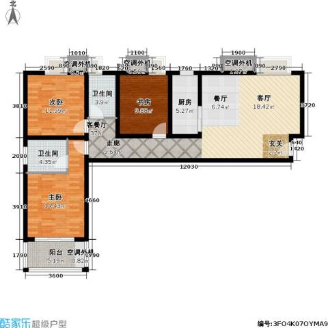 辰龙广场3室1厅2卫1厨112.00㎡户型图