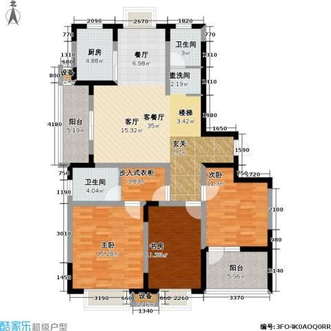 今日嘉园3室1厅2卫1厨117.17㎡户型图