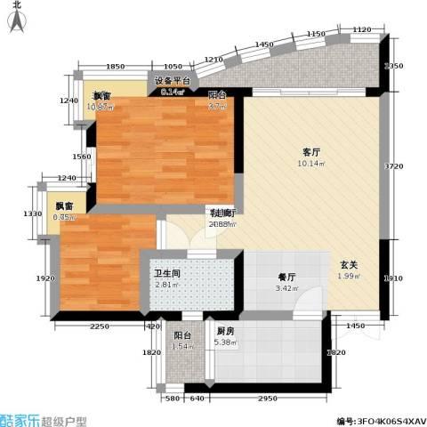 长城盛世家园2室1厅1卫1厨59.00㎡户型图