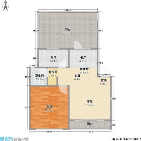 百利华府1室1厅1卫1厨72.28㎡户型图