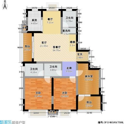 今日嘉园2室1厅3卫1厨114.67㎡户型图