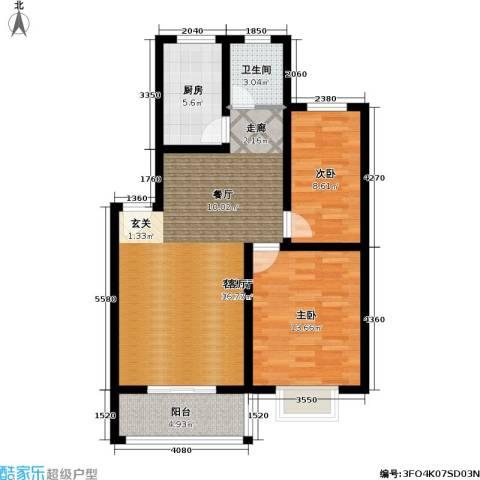 风和日丽花园2室1厅1卫1厨76.00㎡户型图