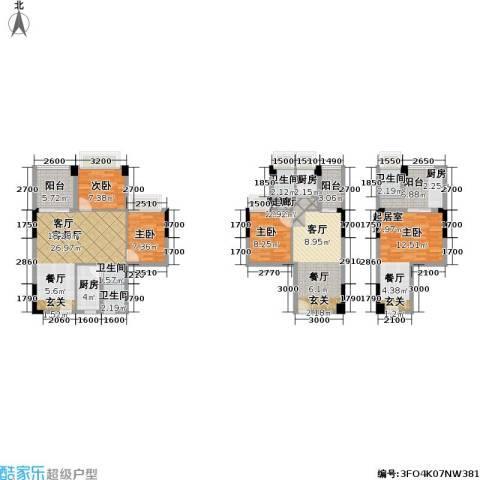 南荔苑3室2厅3卫2厨116.28㎡户型图