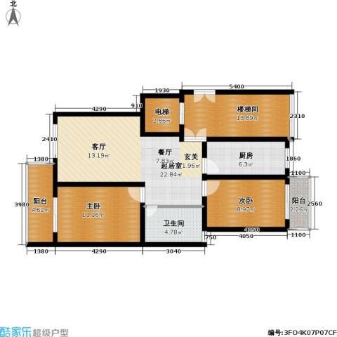 东郊美树苑2室0厅1卫1厨86.00㎡户型图