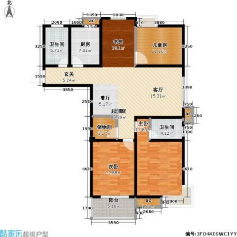 江南佳园3室0厅2卫1厨134.00㎡户型图