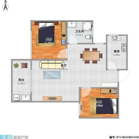 亚泰梧桐世家2室1厅1卫1厨89.00㎡户型图
