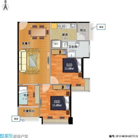 福安雅园3室1厅1卫1厨81.00㎡户型图