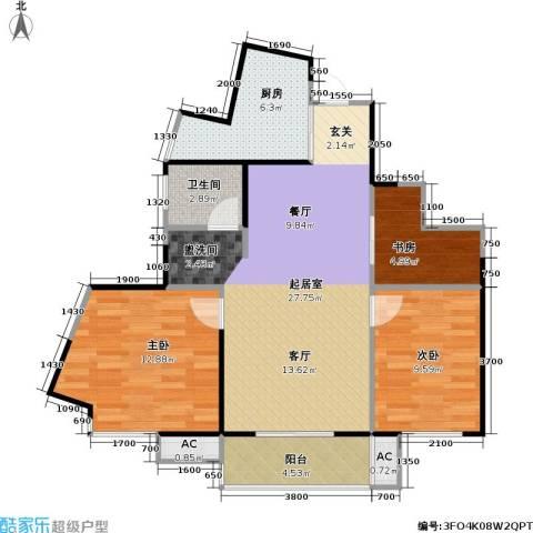 武夷水岸家园3室0厅1卫1厨96.00㎡户型图