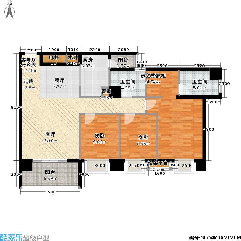 银业国际公寓户型3室1厅2卫1厨