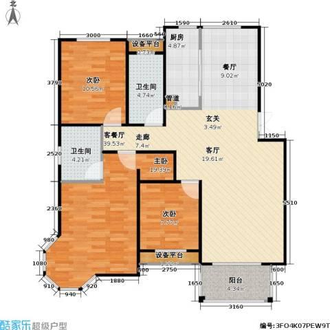 天人佳园3室1厅2卫1厨106.00㎡户型图