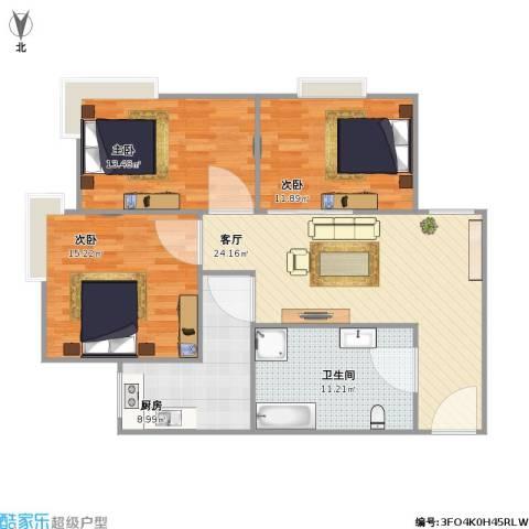 惠康家园3室1厅1卫1厨114.00㎡户型图