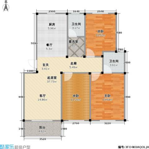 龙海-新加坡花园城3室0厅2卫0厨91.00㎡户型图