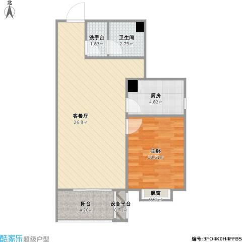 西部枫景傲城1室1厅1卫1厨72.00㎡户型图