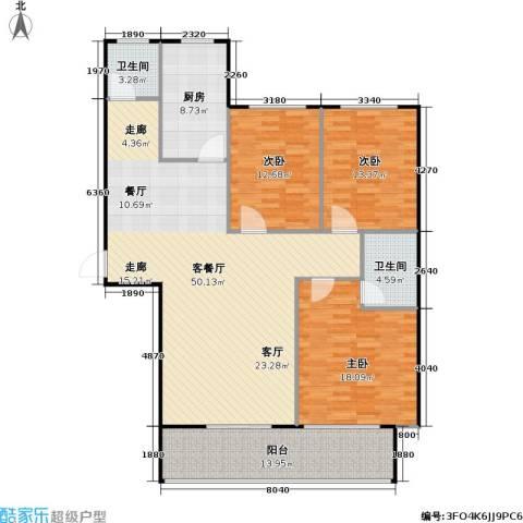 �河名郡3室1厅2卫1厨166.00㎡户型图