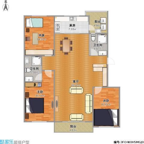 巴黎经典花园3室1厅2卫1厨159.00㎡户型图