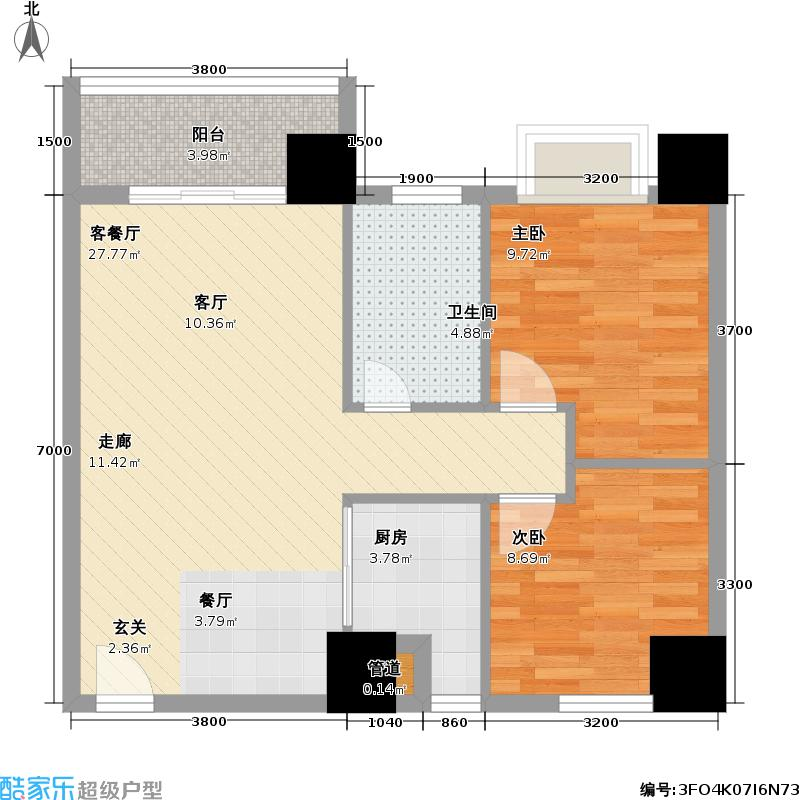 银业国际公寓户型2室1厅1卫1厨