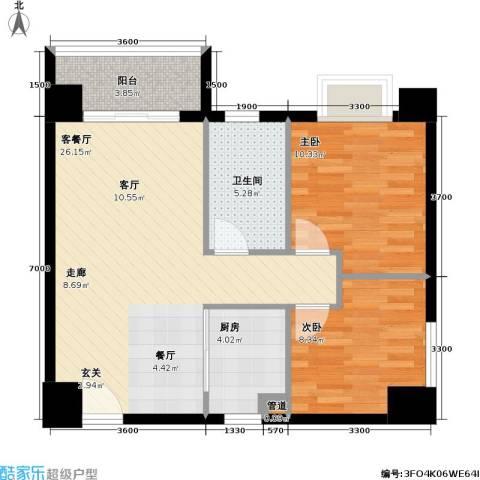 银业国际公寓2室1厅1卫1厨84.00㎡户型图