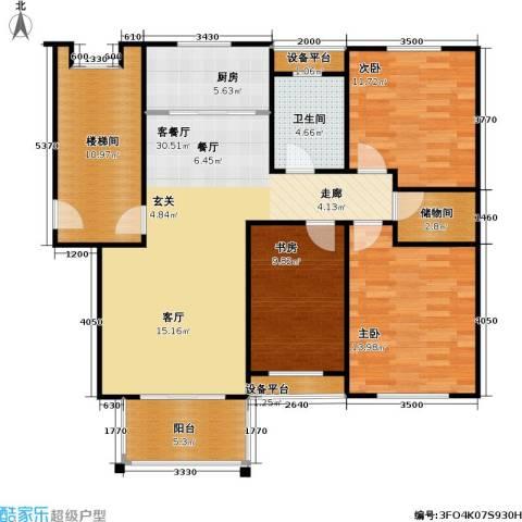 天人佳园3室1厅1卫1厨106.00㎡户型图