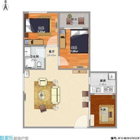 穗园小区3室1厅1卫1厨76.00㎡户型图