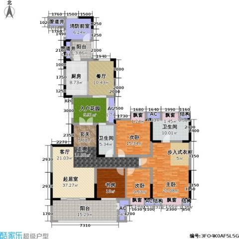招商江湾城4室1厅2卫1厨176.78㎡户型图