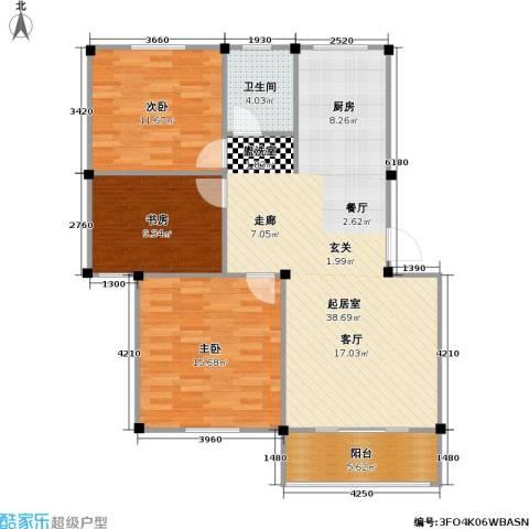 龙海-新加坡花园城3室0厅1卫0厨91.00㎡户型图