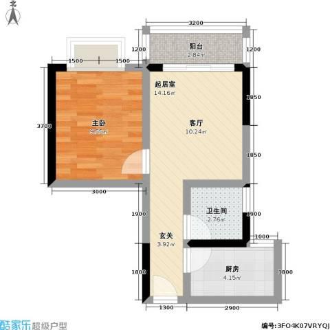 洋世达阳光汇1室0厅1卫1厨51.00㎡户型图