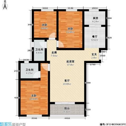 领秀城3室0厅2卫1厨134.00㎡户型图