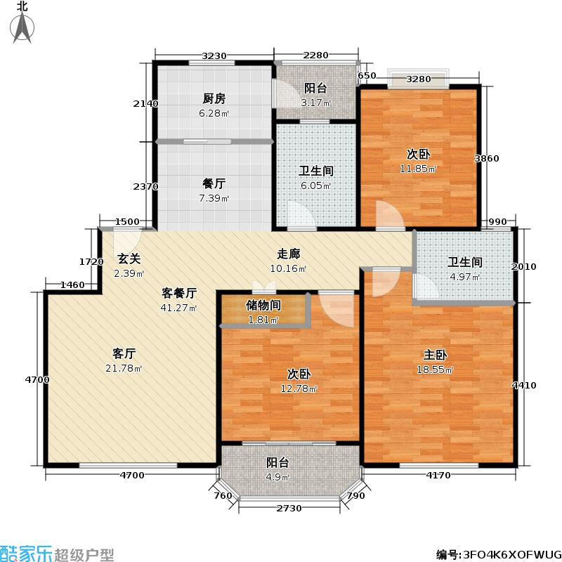 华亭荣园一期三房 120户型