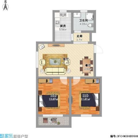 亿城雅苑2室1厅1卫1厨89.00㎡户型图