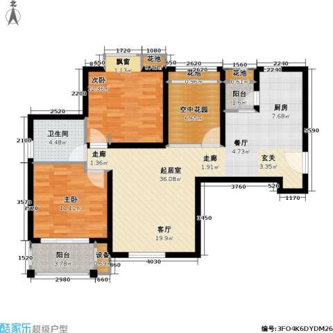 首开悦澜湾2室0厅1卫0厨88.00㎡户型图