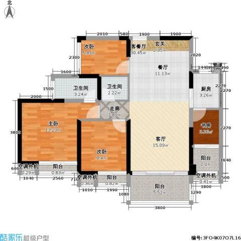 城市花园4室1厅2卫1厨119.00㎡户型图
