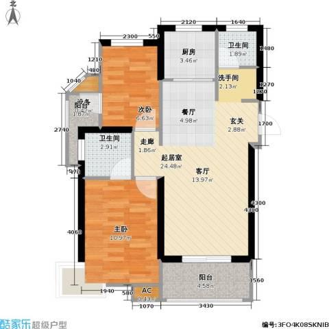 锦汇苑2室0厅2卫1厨68.00㎡户型图