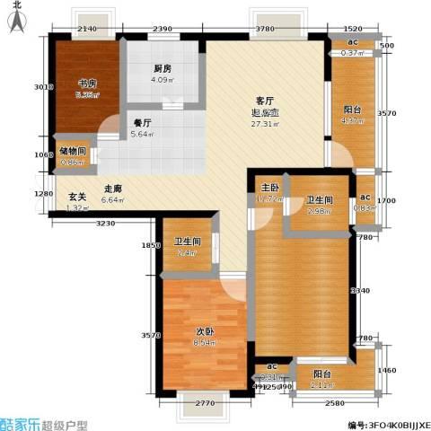 银城西堤国际3室0厅2卫1厨87.00㎡户型图
