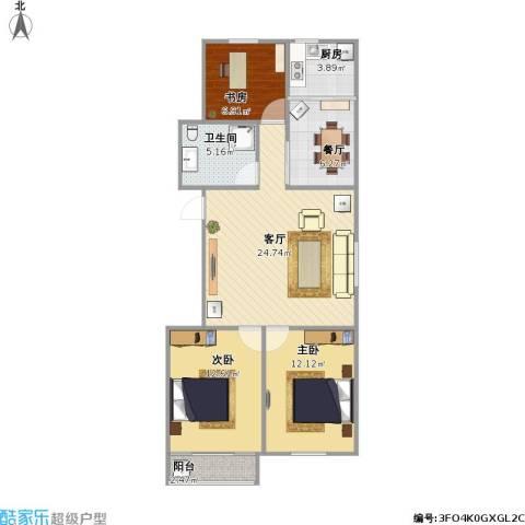 花园小区3室2厅1卫1厨100.00㎡户型图