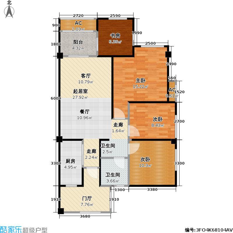 融信时代广场91.60㎡B户型3室2厅1卫1厨 91.60㎡户型3室2厅1卫
