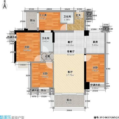 城市花园3室1厅2卫1厨129.00㎡户型图