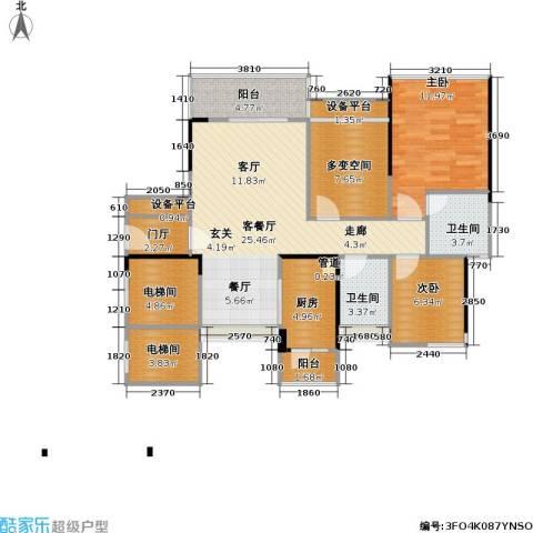 尚城国际2室1厅2卫1厨88.00㎡户型图