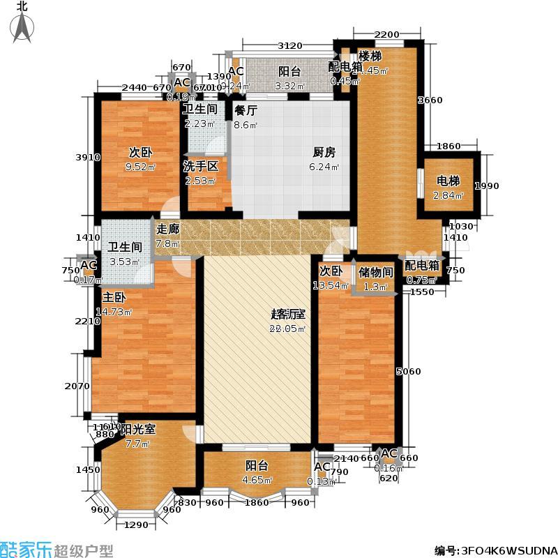 望族苑二期148.00㎡房型: 三房; 面积段: 148 -166 平方米; 户型
