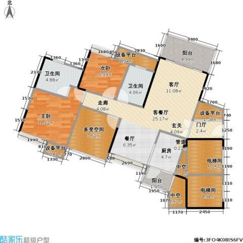 尚城国际2室1厅2卫1厨91.14㎡户型图