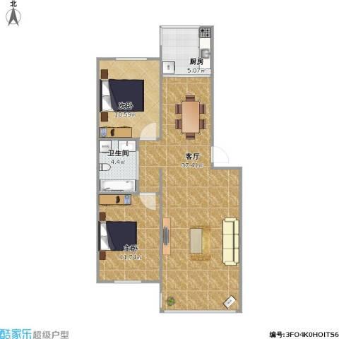丽都水岸2室1厅1卫1厨92.00㎡户型图