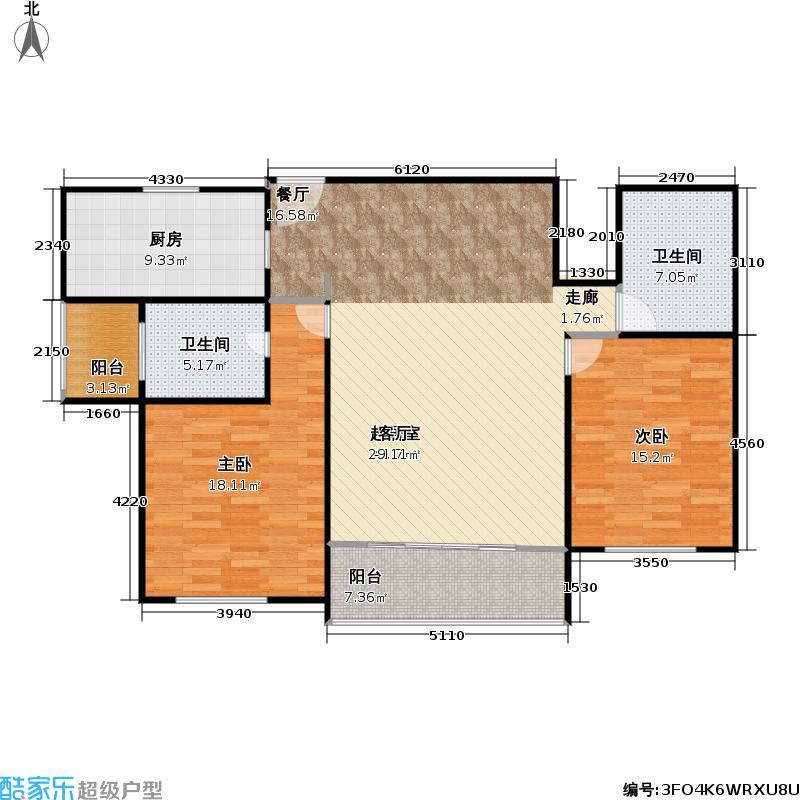 梅陇城世纪苑房型户型2室2卫1厨