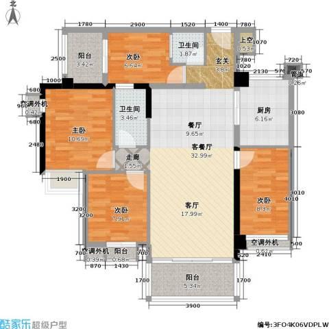 城市花园4室1厅2卫1厨130.00㎡户型图