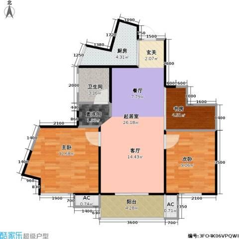 武夷水岸家园3室0厅1卫1厨91.00㎡户型图