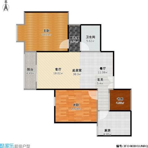 柏林在线3室0厅1卫1厨103.00㎡户型图